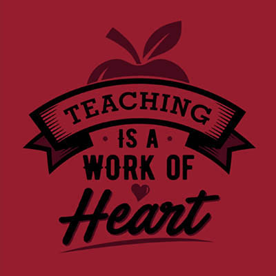 School Spirit Wear 4U - featured design logo - teaching is a work of heart - teacher's day tshirt