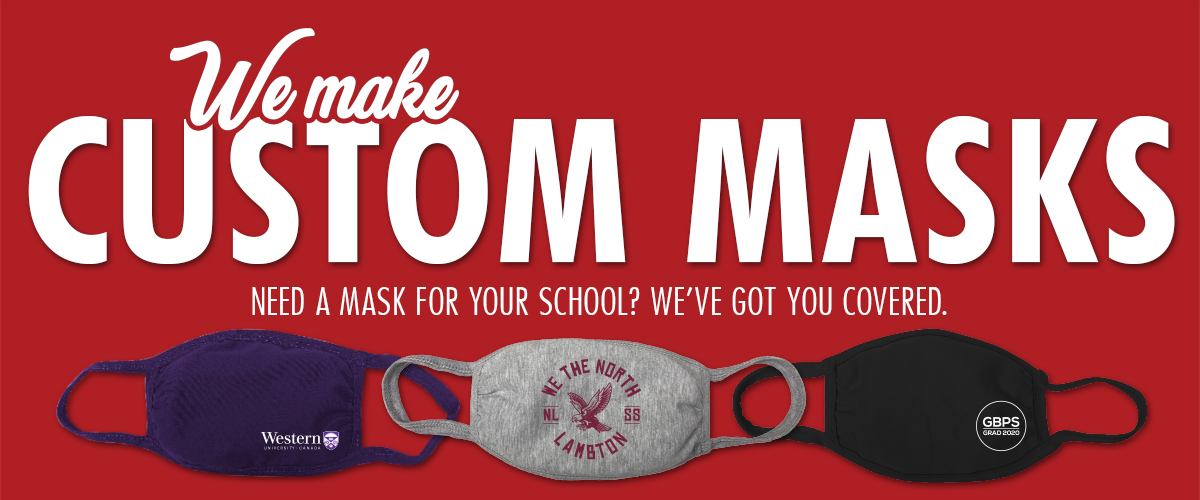 We make custom masks. Photos of masks with school logos and designs on them.