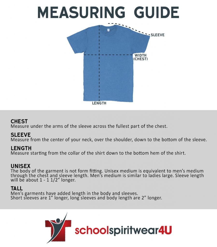 School Spirit Wear Garment Measuring Guidelines