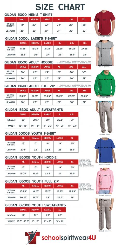 School Spirit Wear Size Chart