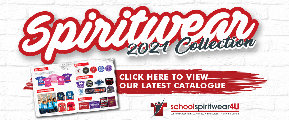 """Text reads """"Spiritwear 2021 Collection. Click here to view our latest catalogue."""""""